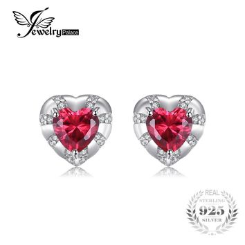 JewelryPalace Love Heart 2.28ct Created Ruby Stud Earrings Genuine 925 Sterling Silver Romantic Earrings For Women Fine Jewelry