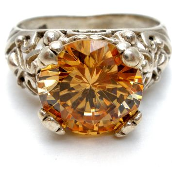 Citrine Quartz Sterling Silver Ring Size 7