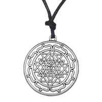 Mandala CHAKRA 3rd Eye Hindu Goddess Yoga Sri Yantra Wiccan Pagan Punk Men Rope Necklace