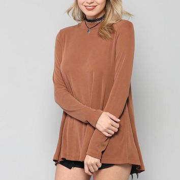 High Neck Long Sleeve Drama Top-Camel