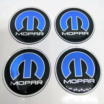 DCCKUG3 4x GLOSS RAISED GEL 3D MOPAR DOMED RESIN BADGE DECAL EMBLEM BLUE Jeep Ram Dodge RC005 WHEEL HUB CENTER TRUNK CAP 63 mm