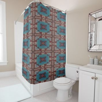 Cute Teal Rustic Cabin Native Indian Tribe Pattern Shower Curtain