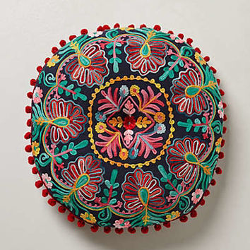 Hand-Embroidered Seat Cushion