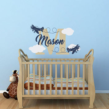 Personalized Airplane Name Wall Decal - Clouds Wall Decal Nursery Decor - Boy Name Monogram Vinyl Wall Decal Airplane Decor for Kids K191