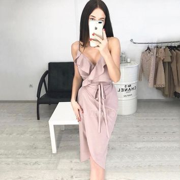 Sexy Deep V Neck Split Spaghetti Strap Women Asymmetrical Hem Ruffles Sleeveless Summer Dress Backless Sashes Bodycon Dress