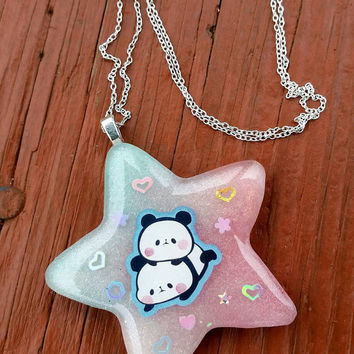 Kawaii Panda Necklace Resin Star Charm Colorful Rainbow chain ribbon sticker custom order made to order
