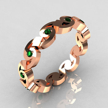 Exclusive 18K Pink Gold Round Emerald Eternity Designer Ring Y243-18KPGE