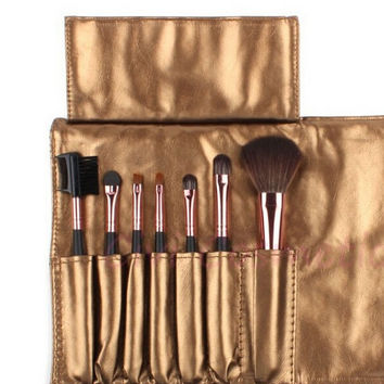 Pink Professional 7 pcs Makeup Brush Set Tools Make-up Toiletry Kit Wool Brand Make Up Brush Set Case