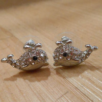 Silver Rhinestone Whale Earrings - Whale Earrings