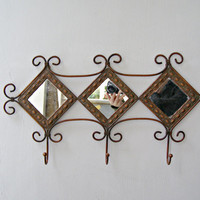 Rustic Wrought Iron 3 Hooks Rack, Etched Copper Rimed Mirror Wall Rack Entrance Brown Metal Wall Hanger, Art Deco Shabby Romantic Decoration