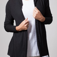 Black Long Sleeve Light Weight Cardigan