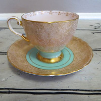 Tuscan Fine Bone China Tea Cup and Saucer Gold and Turquoise Hollywood Regency Porcelain Teacup Gold Swirl