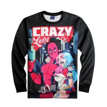 Suicide Squad Cosplay Deadpool Harley Quinn Crazy Love Halloween 3D Printing Hoodies Women Men Casual Lover Couple Tops