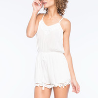 Flying Tomato Battenburg Womens Romper White  In Sizes