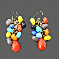 Long Dangle Cha Cha Earrings Glass Beads Multi Color and Shape Wires for Pierced Ears