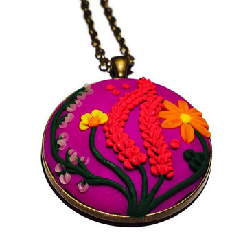 Clay charm Polymer clay Purple necklace Boho pendant Christmas gift Floral necklace Nature pendant Statement necklace Gift idea Gift for her