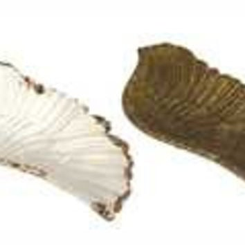 """4""""L Decorative Pewter Wing Shaped Dish, 2 Colors"""