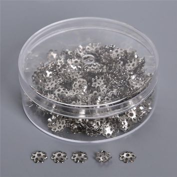 7mm 500pcs Gold/Silver Plated Flower Metal Bead Caps Filigree Jewelry Findings Connector Beads Cap DIY Jewelry (Contain Box)