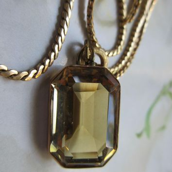Antique 10K Citrine Pendant on Gold Fill Chain