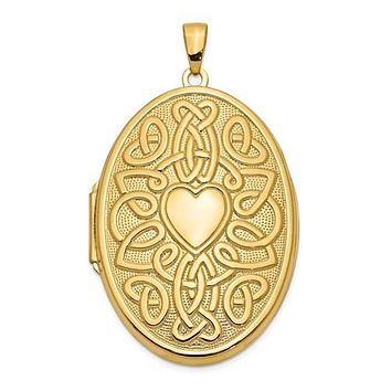 14K Yellow Gold Celtic 2 Photo Love Locket Necklace Charm