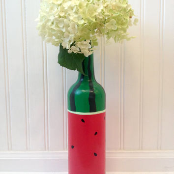 Watermelon Wine Bottle Vase Hand Painted Summer Flower Vase