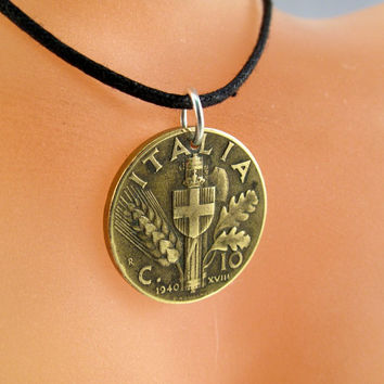 ITALIAN COIN necklace. ITALY coin jewelry pendant. Italia. wheat. partsforyou Cecile Stewart . mens jewelry No.001299