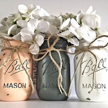 Painted mason jars home decor, centerpiece, nursery decor