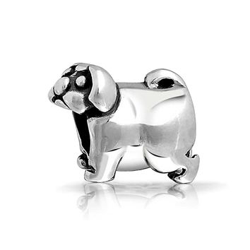 Pug Bulldog Dog Puppy Pet Lover Charm Bead Charm 925 Sterling Silver
