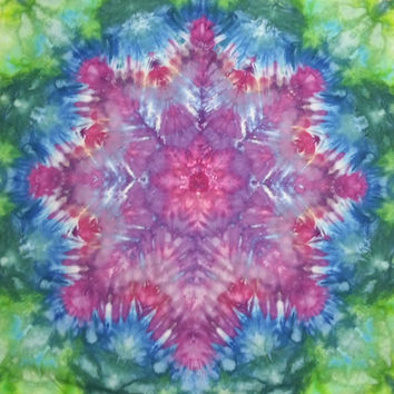 Trippy mandala tie dye tapestry or wall hanging in purple pink blue green