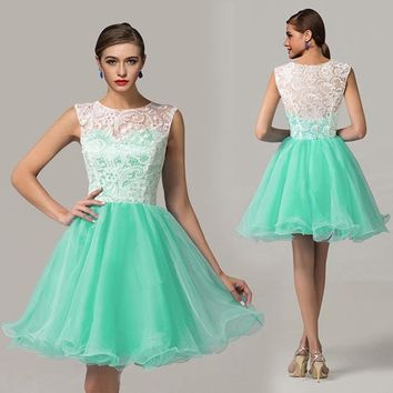 Green Patchwork White Lace Pleated Round Neck Sleeveless Puffy 8th Grade Graduation Party Tutu Mini Dress