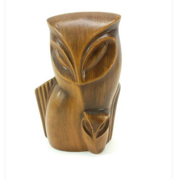 Mid Century Modern Owl Planter, Haeger Pottery USA, 1960's, Birds, Faux Wood Grain, Danish Modern, Large Eyes