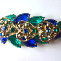JULIANA Blue & Teal Green Rhinestone Leaf Brooch, Filigree Hearts, Domed, Vintage