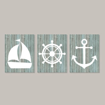 Nautical Wall Decor Coastal wall Art Beach Bathroom Nautical Nursery Beach House Art Anchor Boy Nursery Prints Art Set of 3 Prints Or Canvas