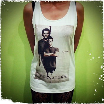 Supernatural - 2 TV US Series Poster Sam Winchester Dean Winchester Woman Tank Top Crop Vest Tshirt T Shirt Tees S, M, L