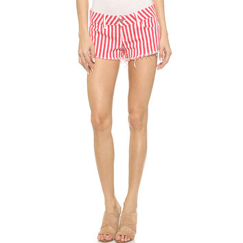 Vertical Striped Print Button Shorts