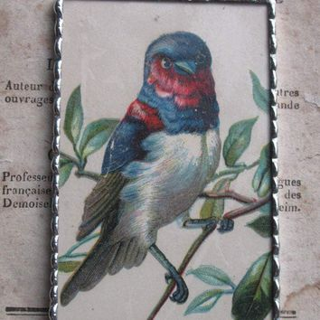 1880 Beautiful Bird Victorian Trade Card Pendant and Necklace - One of a Kind!