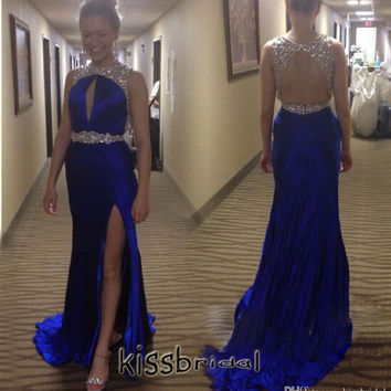 Copy of Backless Slit Prom Dresses,Blue Prom Dress,Long Evening Dress