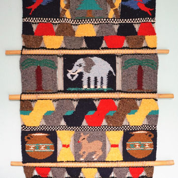 Handwoven Animal Wall Hanging-Tapestry-Aztec-Latin American-Exotic Art