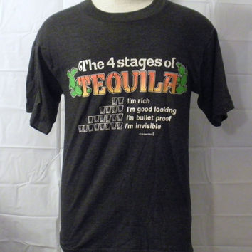 Vintage New With Tags 1986 TEQUILA PARTY FUNNY Alcohol Drink Graphic College Small Medium 50/50 T-Shirt