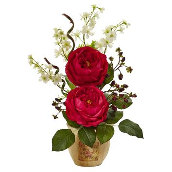 Artificial Flowers -Large Red Rose And Dancing Daisy In Wooden Pot Arrangement