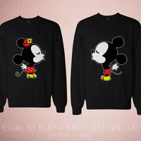 Disney Couple Matching Shirts - Cute Couples Kissing You Mickey and Minnie Mouse Black Tops Romantic Couples Sweatshirt