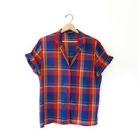 Vintage plaid 80s shirt. Short sleeve tee shirt. Preppy button up. Womens grunge prep tshirt. Medium Large.