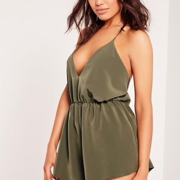 Missguided - Crepe Strappy Back Detail Playsuit Green