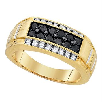 Yellow-tone Sterling Silver Men's Round Black Color Enhanced Diamond Rectangle Band Ring 1.00 Cttw - FREE Shipping (US/CAN)