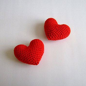 Amigurumi Crochet Red Heart (Set of 2) - Cake topper - Wedding table decor - Birthday party decoration