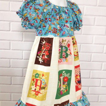 Girls Peasant Dress ABC Back To School Fall Blue Brown Boutique Clothing By Lucky Lizzy's