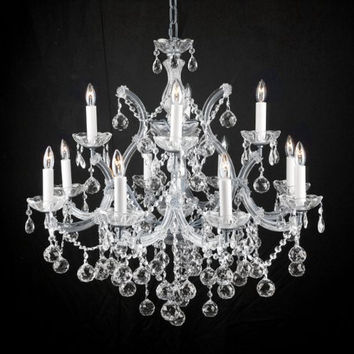 NEW! LIGHTING CHANDELIER CHANDELIERS W/ CRYSTAL BALLS! 28 X 30 - A83-SILVER/BALLS/21532/12+1