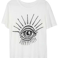 White Eye Printed Short Sleeve T-Shirt