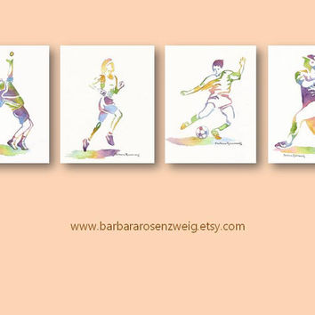 Sport ART PRINT SET watercolor painting 8x10 wall art tennis runner soccer baseball child boy girl room decor man office Barbara Rosenzweig