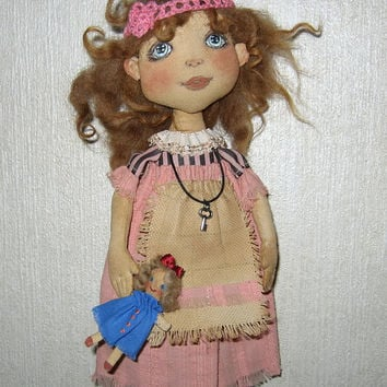 Cloth art doll-Art doll- Cloth doll-OOAK doll-Textile dolls-Collecting doll-Stuffed doll- Fabric doll-Soft doll-Doll-Rag doll-Cotton doll